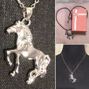Horse pendant on leather band plus silver chain